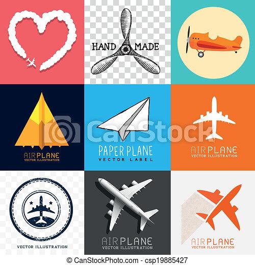 motorflugzeug, vektor, sammlung - csp19885427
