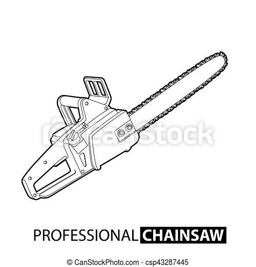 motosega, contorno - csp43287445