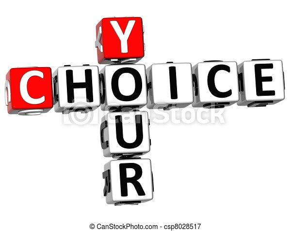 mots croisés, 3d, ton, choix - csp8028517