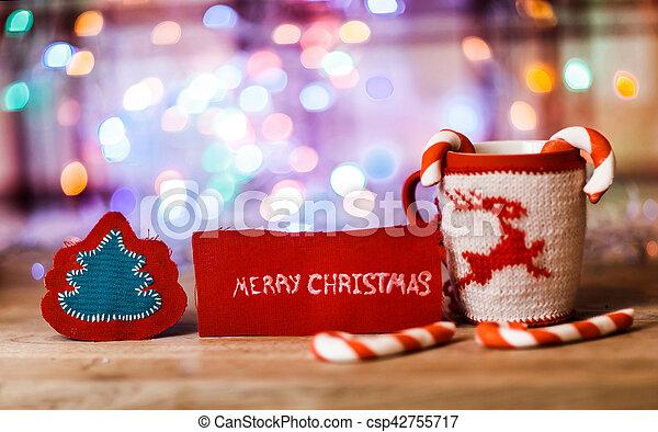 Mots Merry Tasse Ornement Christmas Fond En Tête Lettre Noël Rouges Fête