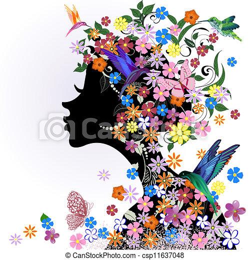 motyl, kwiatowy, dziewczyna, ptak, fryzura - csp11637048