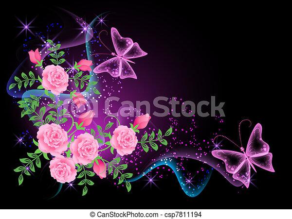 motyl, kwiaty, dym, tło - csp7811194