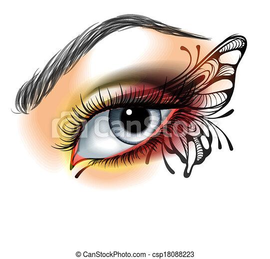 motyl, ustalać, oko, do góry - csp18088223