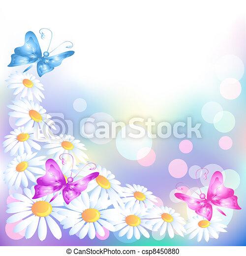 motyle, kwiaty - csp8450880