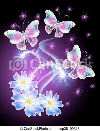 motyle, kwiaty, neon, gwiazdy - csp38199318
