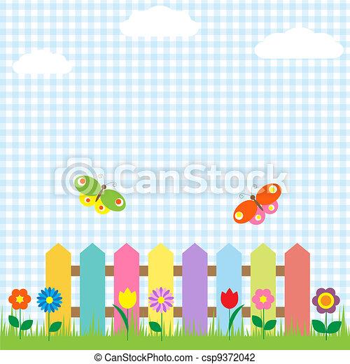 motyle, kwiaty, płot, barwny - csp9372042