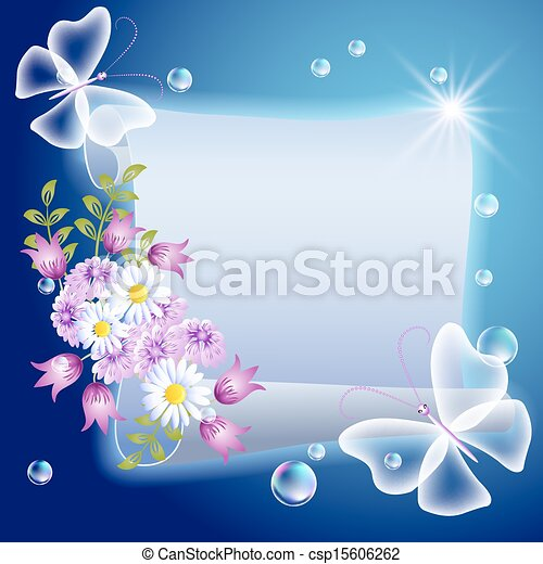 motyle, kwiaty, pergamin - csp15606262