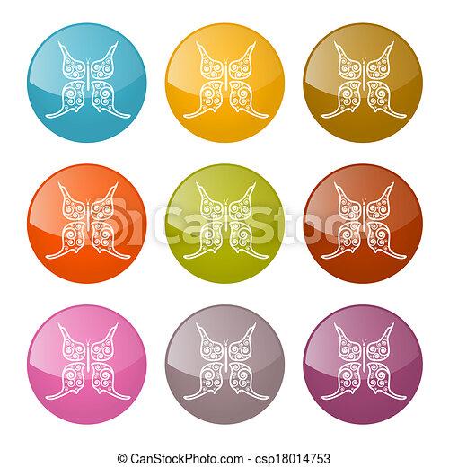motyle, wektor, komplet, barwny, ikony - csp18014753