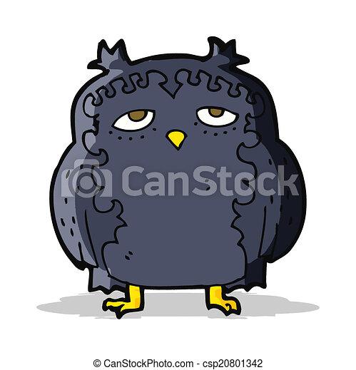 moudrý, dávný, karikatura, sova - csp20801342