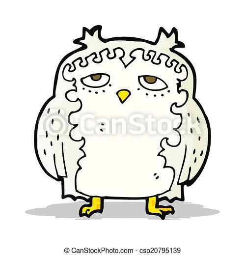 moudrý, dávný, karikatura, sova - csp20795139
