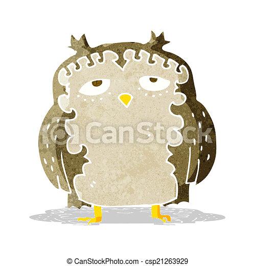 moudrý, dávný, karikatura, sova - csp21263929