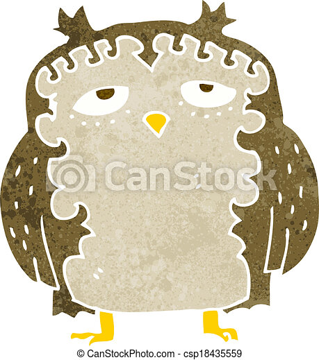 moudrý, dávný, karikatura, sova - csp18435559