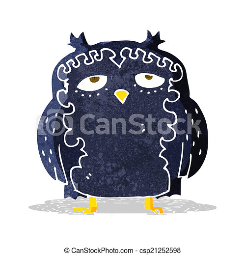 moudrý, dávný, karikatura, sova - csp21252598
