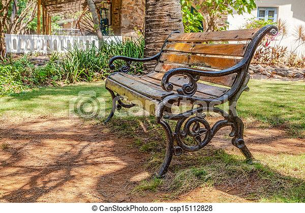 Moule, bois, jardin, fer, banc. Garden., coup, ombre, moule ...