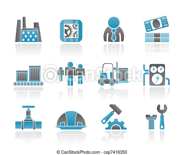 moulin, business, usine, icônes - csp7416350