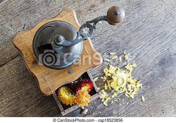 moulin caf bois vendange jaune tiroir moulin fleurs. Black Bedroom Furniture Sets. Home Design Ideas