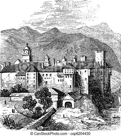 Mount Athos or The Holy Mountain, Macedonia, Greece. Vintage engraving. - csp6204430