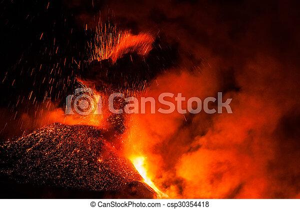 Mount Etna Eruption and lava flow - csp30354418