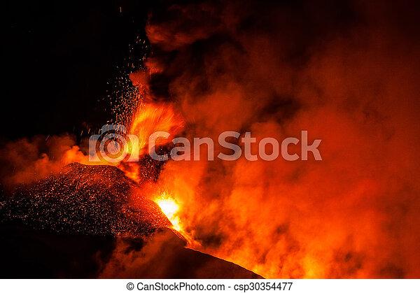 Mount Etna Eruption and lava flow - csp30354477
