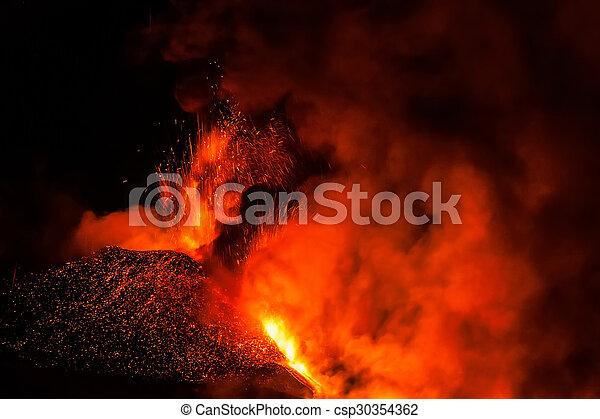 Mount Etna Eruption and lava flow - csp30354362