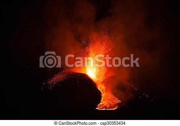Mount Etna Eruption and lava flow - csp30353434