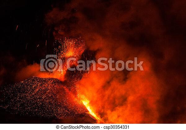 Mount Etna Eruption and lava flow - csp30354331