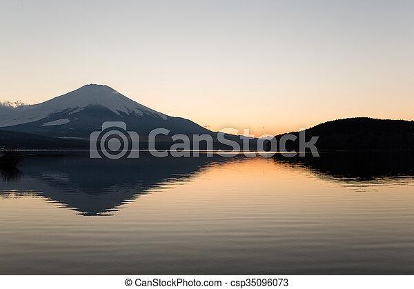 Mount fuji at Lake Yamanaka during sunset - csp35096073