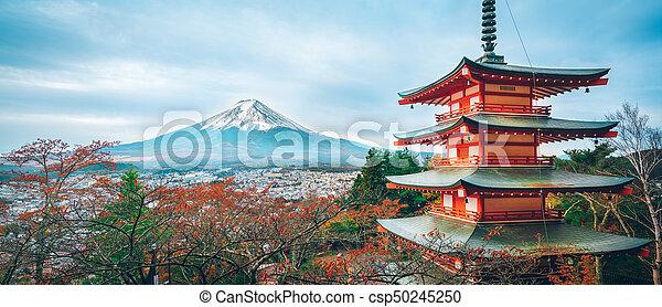 Mount Fuji, Chureito Pagoda in Autumn - csp50245250