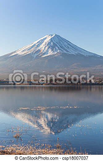 Mount Fuji from Lake Kawaguchiko - csp18007037