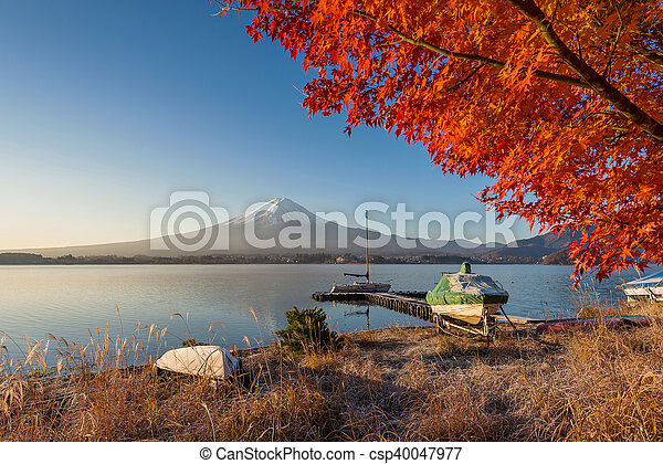 Mount Fuji view from lake Kawaguchiko in autumn color - csp40047977