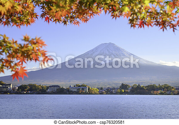 Mount Fuji view from lake Kawaguchiko the famous scenic attraction in Autumn - csp76320581