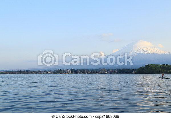Mount Fuji, view from Lake Kawaguchiko - csp21683069
