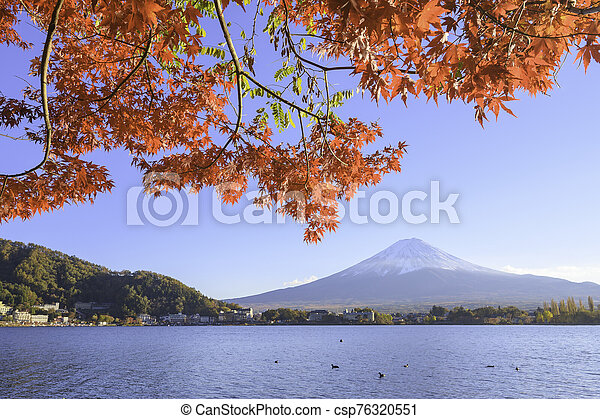 Mount Fuji view from lake Kawaguchiko the famous scenic attraction in Autumn - csp76320551