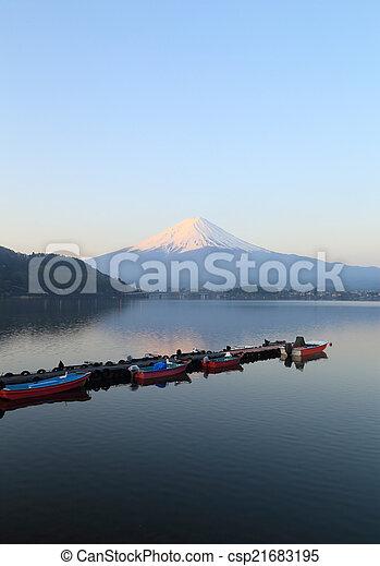 Mount Fuji, view from Lake Kawaguchiko - csp21683195