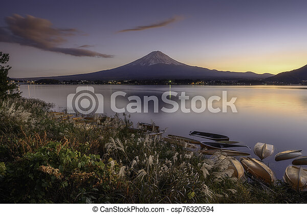 Mount Fuji view from lake Kawaguchiko the famous scenic attraction in Autumn - csp76320594
