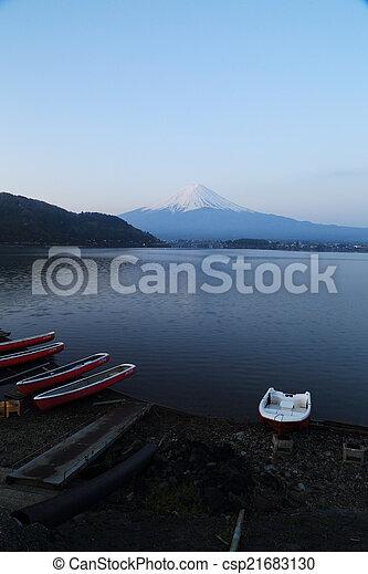 Mount Fuji, view from Lake Kawaguchiko - csp21683130