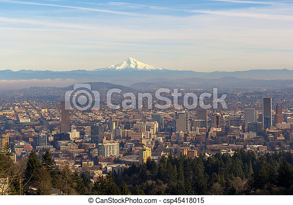 Mount Hood over City of Portland Oregon - csp45418015