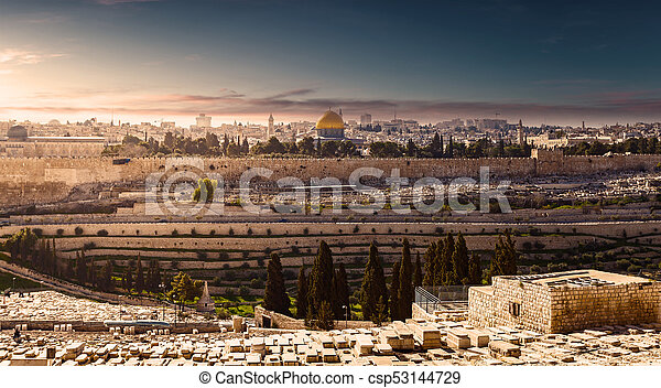 Mount of Olives and the old Jewish cemetery in Jerusalem, Israel - csp53144729