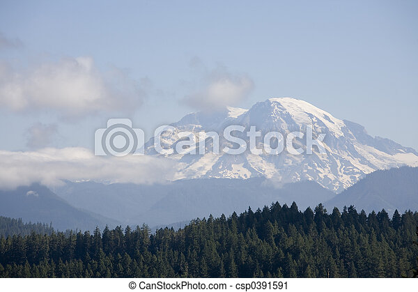 Mount Rainier in Clouds - csp0391591