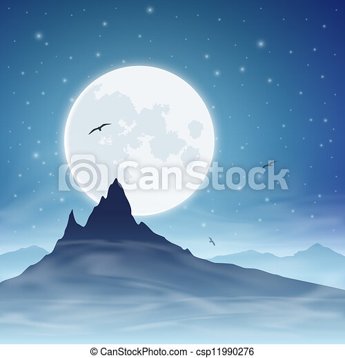 Mountain and Moon - csp11990276