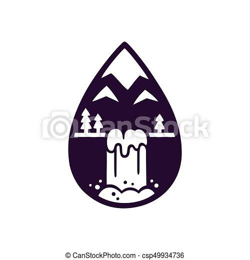 Mountain And Waterfall Logo