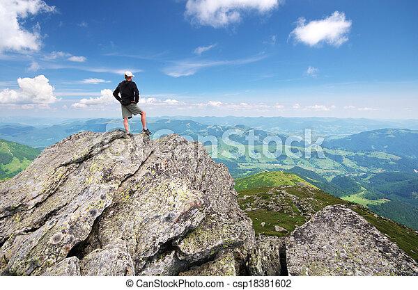 mountain., bergstopp, man - csp18381602