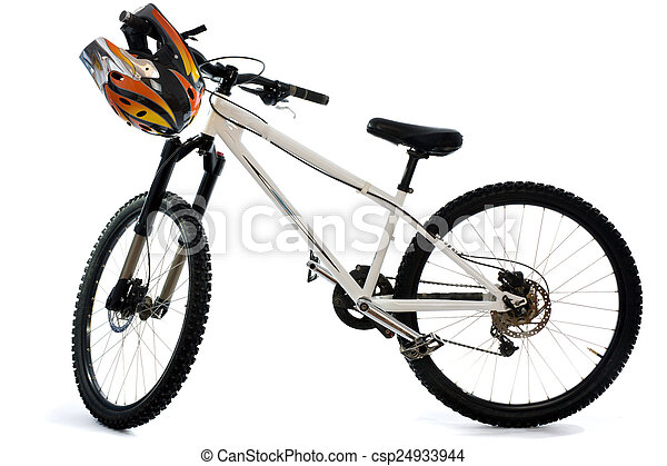 Mountain bike and helmet for extreme riding - csp24933944