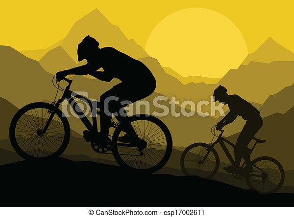 Mountain bike bicycle riders in wild mountain nature landscape background illustration vector - csp17002611