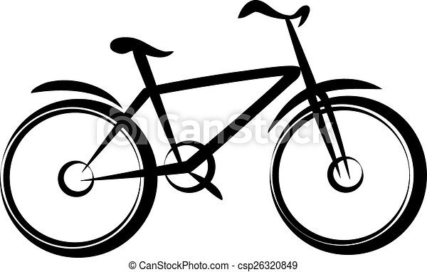 mountain bike bicycle silhouette in simple black lines eps vector rh canstockphoto com mountain bike wheel clipart mountain bike pictures clip art