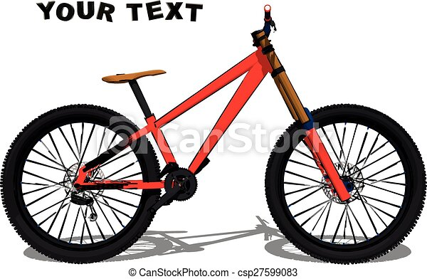 Mountain Bike Illustration Side View Red Bicycle Active