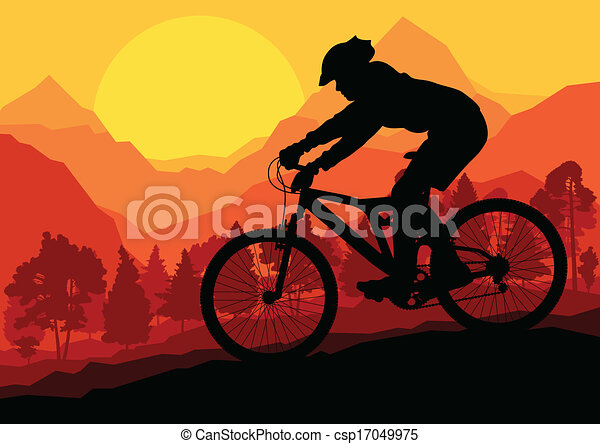 Mountain bike riders in wild forest mountain nature landscape background illustration vector - csp17049975