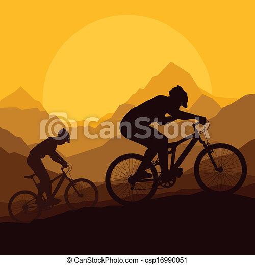 Mountain bike riders in wild mountain nature vector - csp16990051