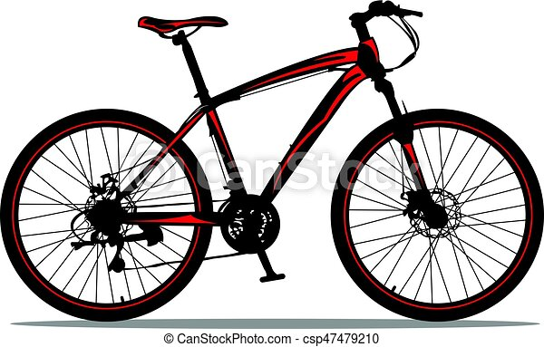 mountain bike mountain bike black red design vector clip art rh canstockphoto com mountain bike wheel clipart clipart mountain bike rider