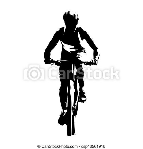 mountain biker front view abstract vector silhouette cycling